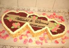 Vanilla Sponge   Vanilla Custard   Fresh Strawberries   Strawberry Coulis   Flaked Almonds   Marzipan Banner and Flowers