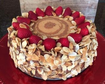 Choc and Vanilla (Zebra) Sponge | Dark Choc Aero Mousse | Fresh Strawberries | Almond Flakes
