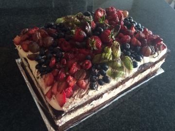 No Egg Dark Choc Brownie Base | Mascarpone Creme | Fresh Fruit (GF)