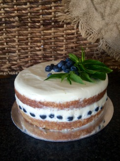 Almond Base | Prosecco and Elderflower Mascarpone Creme | Fresh Blueberries (GF)