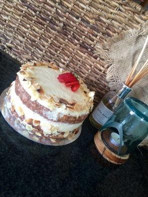 Hazelnut base   Prosecco Mascarpone Creme   Fresh Strawberries and Almond Flakes (GF)
