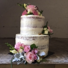 2 tier Semi Naked Wedding Cake | Red Velvet | Hazelnut & Prosecco Blueberry