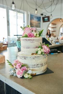 2 tier Semi Naked Wedding Cake   Red Velvet   Hazelnut & Prosecco Blueberry