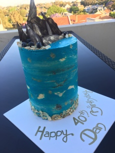 Sea themed 6 layer Almond cake with Blueberries and Elderflower