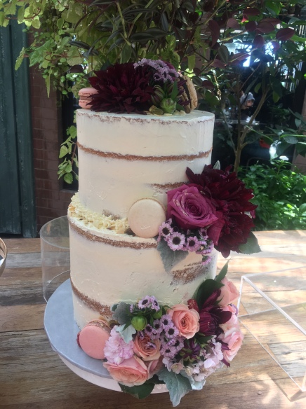 2 tier White Choc & Raspberry Cake