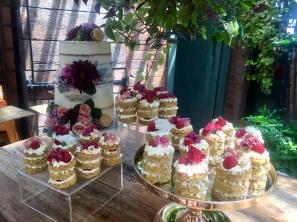 Bridal Shower Table   White Choc & Raspberry Centrepiece   Strawberry & Prosecco Mini Cakes